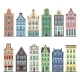 Set of 12 Amsterdam Old Houses Cartoon Facades - GraphicRiver Item for Sale