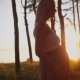 Beautiful Silhouette Pregnant Girl at Sunset - VideoHive Item for Sale