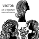 Set of Women Head Silhouettes with Curly Hair - GraphicRiver Item for Sale
