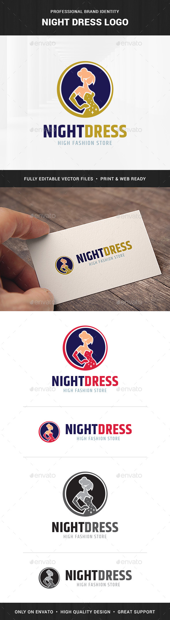 Night Dress Logo Template