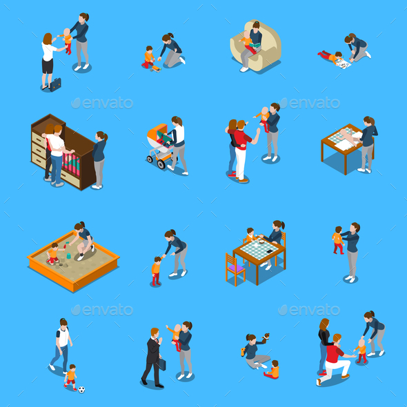 Baby Sitter Isometric People