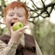 Rustic Red-haired Boy Eats an Apple in a Blooming Garden in - VideoHive Item for Sale