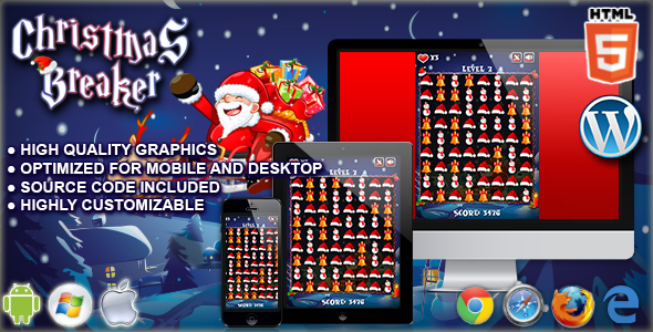 Christmas Breaker - gra HTML5 Construct Match 3