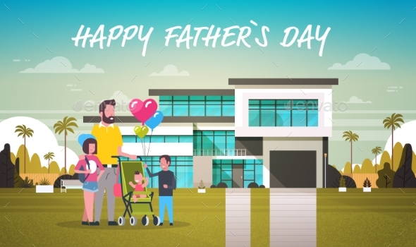 Happy Father Day Family Holiday Daughter, Son and