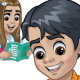 Schoolboy and Schoolgirl Reading a Book - GraphicRiver Item for Sale