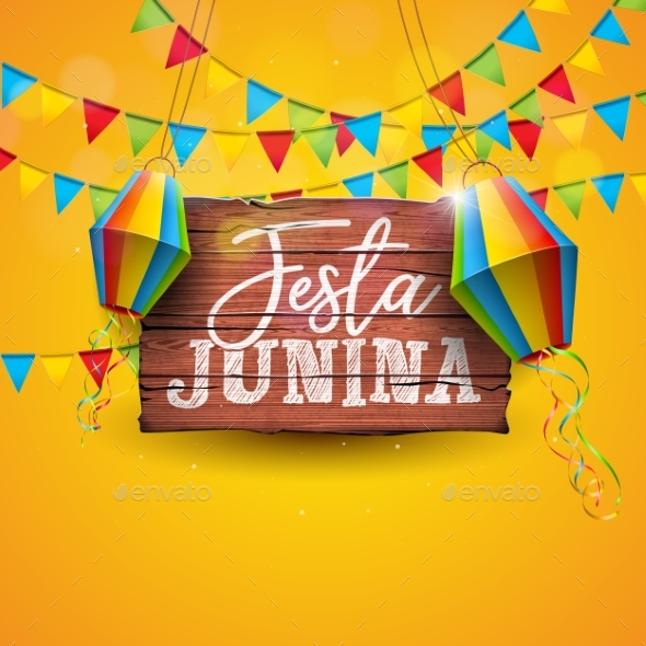 Festa Junina Illustration with Party Flags