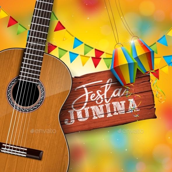 Festa Junina Illustration with Acoustic Guitar