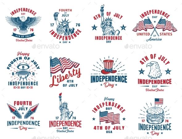 Set of 4th of July Emblems