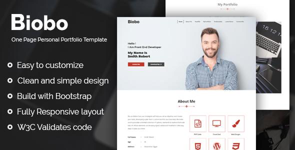 Biobo - Responsive One Page Personal Portfolio Template