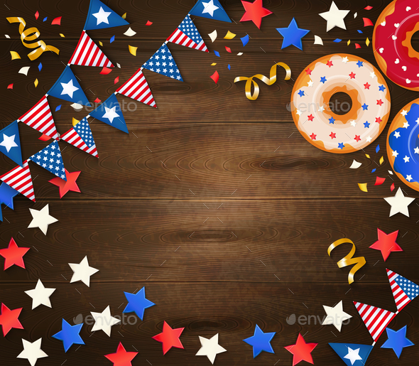Independence Day Wooden Background