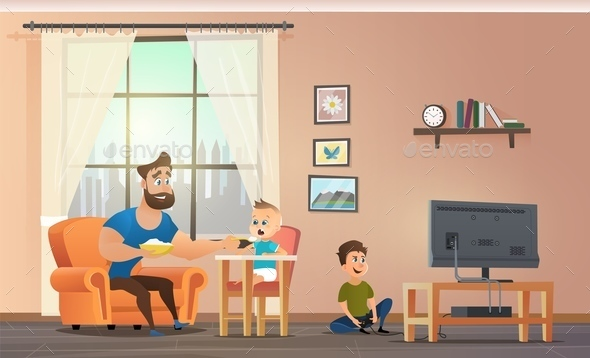 Father Sitting at Home With Children