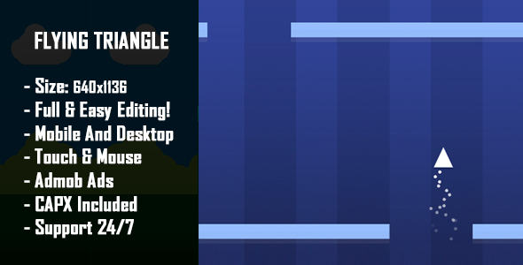 Flying Triangle - HTML5 Game + Mobile Version! (Construct 2 / Construct 3 / CAPX) Download