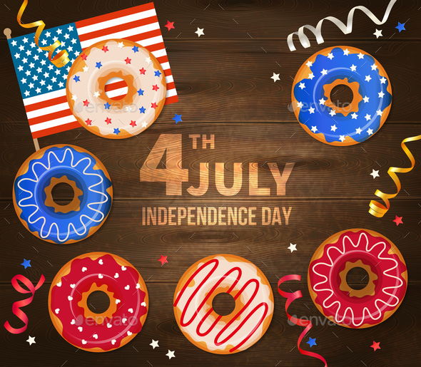 Independence Day Wooden Illustration