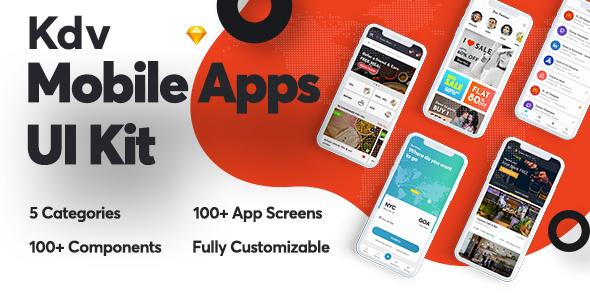 Kdv Mobile Apps Sketch UI Kit for Startups