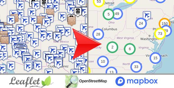 Leaflet OpenStreetMap, server side markers clustering php script v1.3