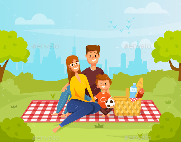 Family Relaxing on Picnic