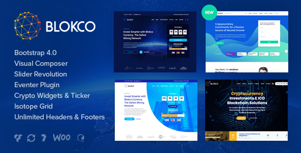 Blokco - ICO, Cryptocurrency & Consulting Business WordPress Theme