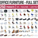 Office Furniture Full Set - 250 Products - 3DOcean Item for Sale