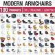 Modern Armchairs Collection - 100 Products - 3DOcean Item for Sale