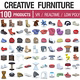 Designer Furniture Collection - 100 Products - 3DOcean Item for Sale