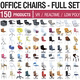 Office Chairs Collection - 150 Products Full Set - 3DOcean Item for Sale