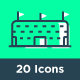 20 Soccer Modern Flat Line Icons - GraphicRiver Item for Sale
