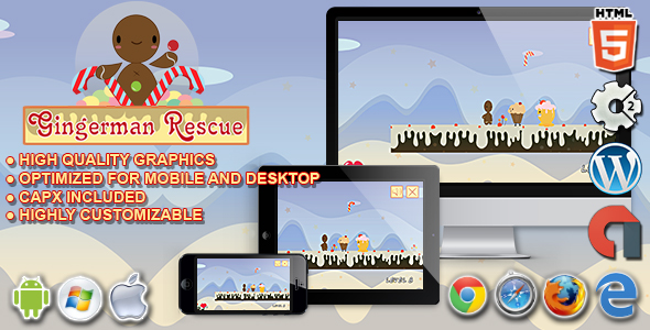 Gingerman Rescue - HTML5 Construct 2 Platform Game Download