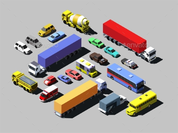 Vector Isometric Road Cars