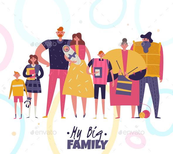 Big Family Vector Illustration