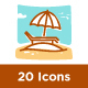 20 Summer Holiday Flat Line Icons - GraphicRiver Item for Sale