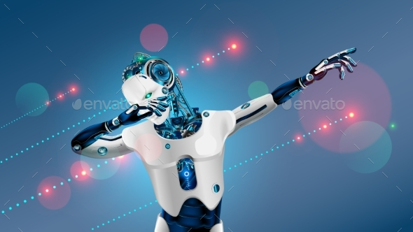 Robot or cyborg dabbing on party. Dab pose. Cybernetic man with AI dancing in nightclub music.
