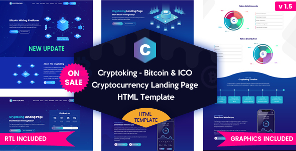 Cryptoking ICO - Bitcoin & ICO Cryptocurrency Landing Page HTML Template