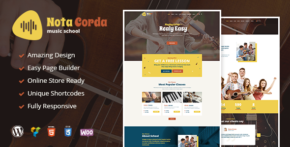 NotaCorda - Music School and Musicians WordPress Theme