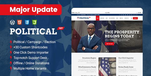 PoliticalWP - Multipurpose Campaign, Election WordPress Theme