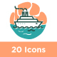 20 Travel and Transportation Icon Sets - GraphicRiver Item for Sale