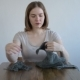 Woman Unravelling the Grey Knitting - VideoHive Item for Sale