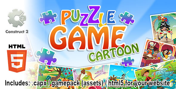 Puzzle Game Cartoon - Construct 2 Source Code and HTML5 Files for your Site Download