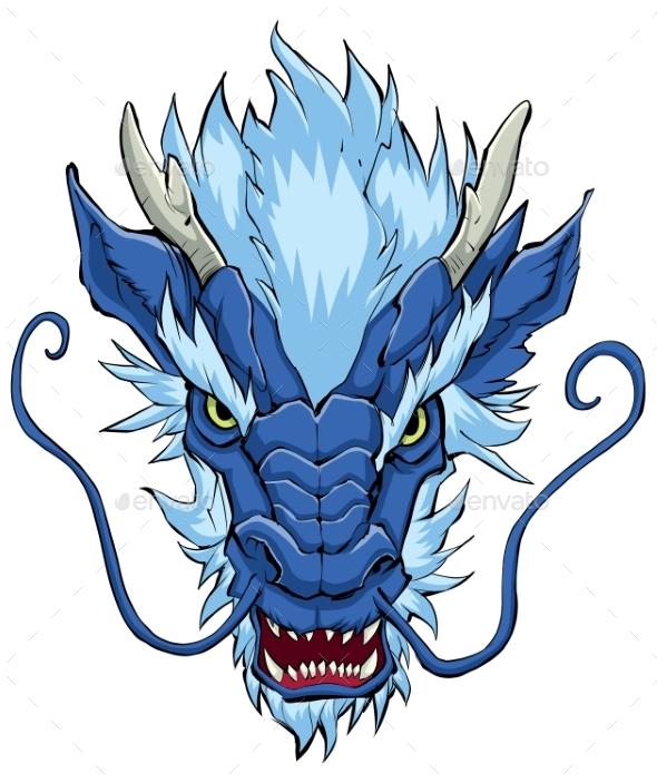 Chinese Dragon Head Blue