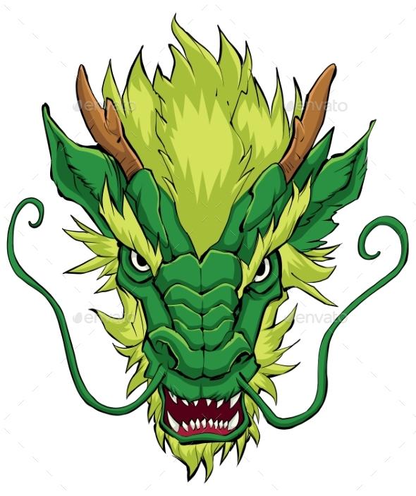 Chinese Dragon Head Green