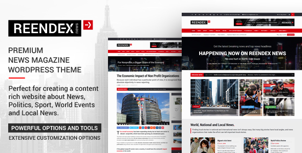 Reendex - Broadcast News Magazine WordPress Theme