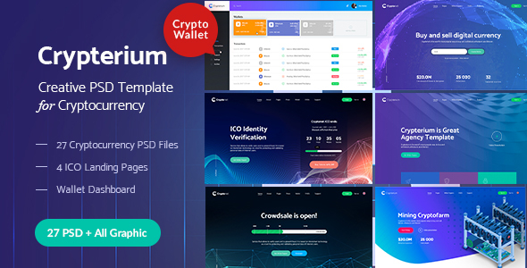 Crypterium - Cryptocurrency & ICO Landing Pages PSD Pack