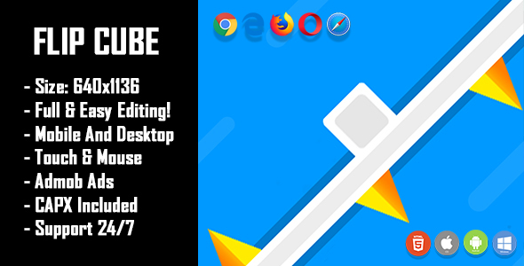 Flip Cube - HTML5 Game + Mobile Version! (Construct 2 / Construct 3 / CAPX) Download