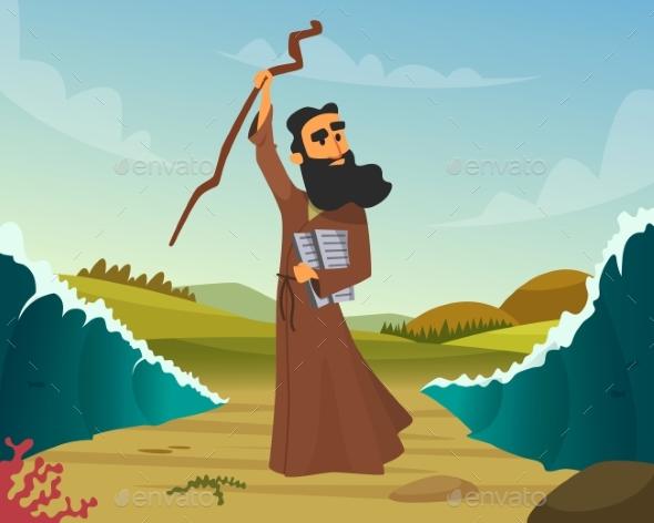 Vector Historical Illustration of Biblical Story