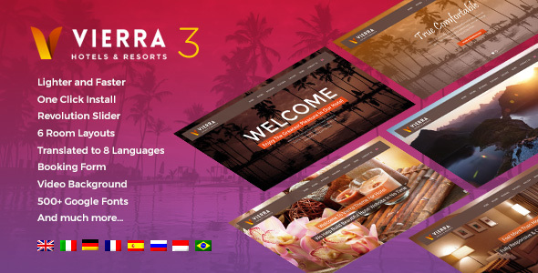Vierra - Hotel, Resort, Inn & Booking WordPress Theme
