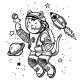 Vector Illustration Cat Astronaut Soaring - GraphicRiver Item for Sale