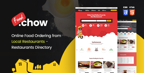 FoodChow - A Food Ordering or Hotel Directory HTML Template