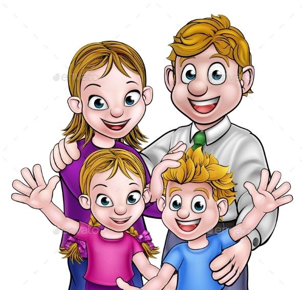 Cartoon Parents and Children