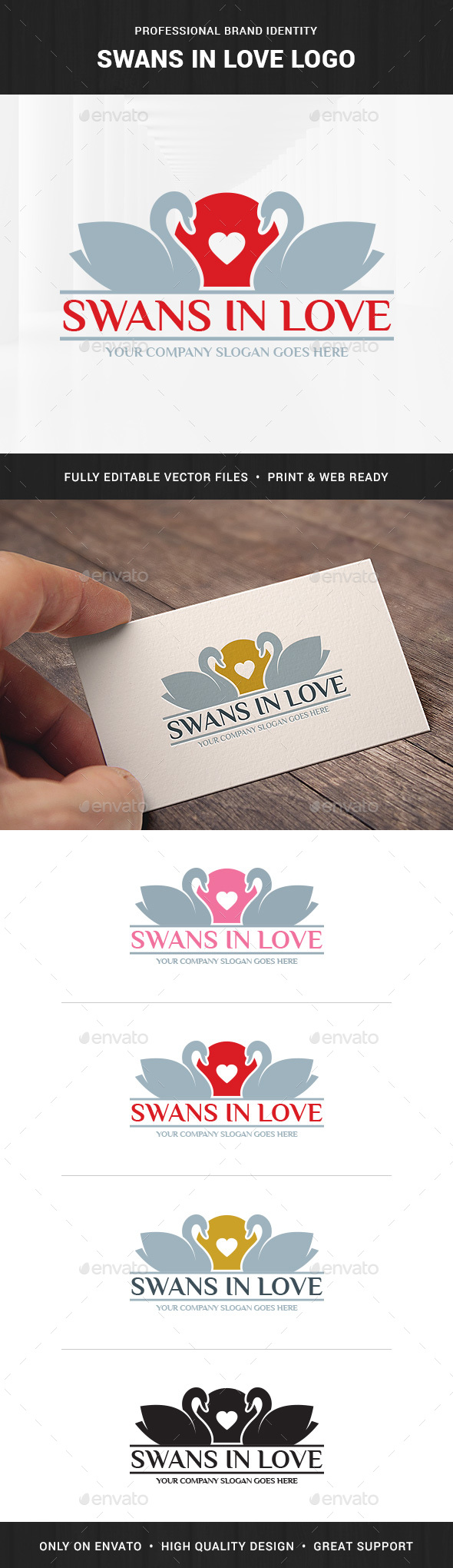 Swans In Love Logo Template
