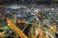 aerial view of urban downtown at night - PhotoDune Item for Sale