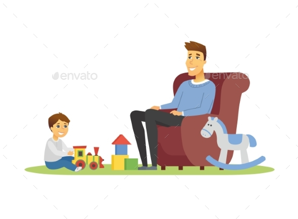Father and Son - Cartoon People Characters
